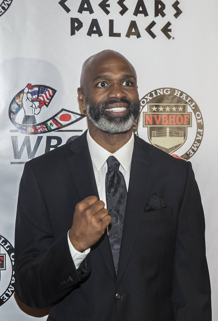 Former heavyweight champion Chris Byrd takes photos on the red carpet before the start of the Nevada Boxing Hall of Fame gala on Saturday, Aug. 18, 2018, at Caesars Palace, in Las Vegas. Benjamin ...