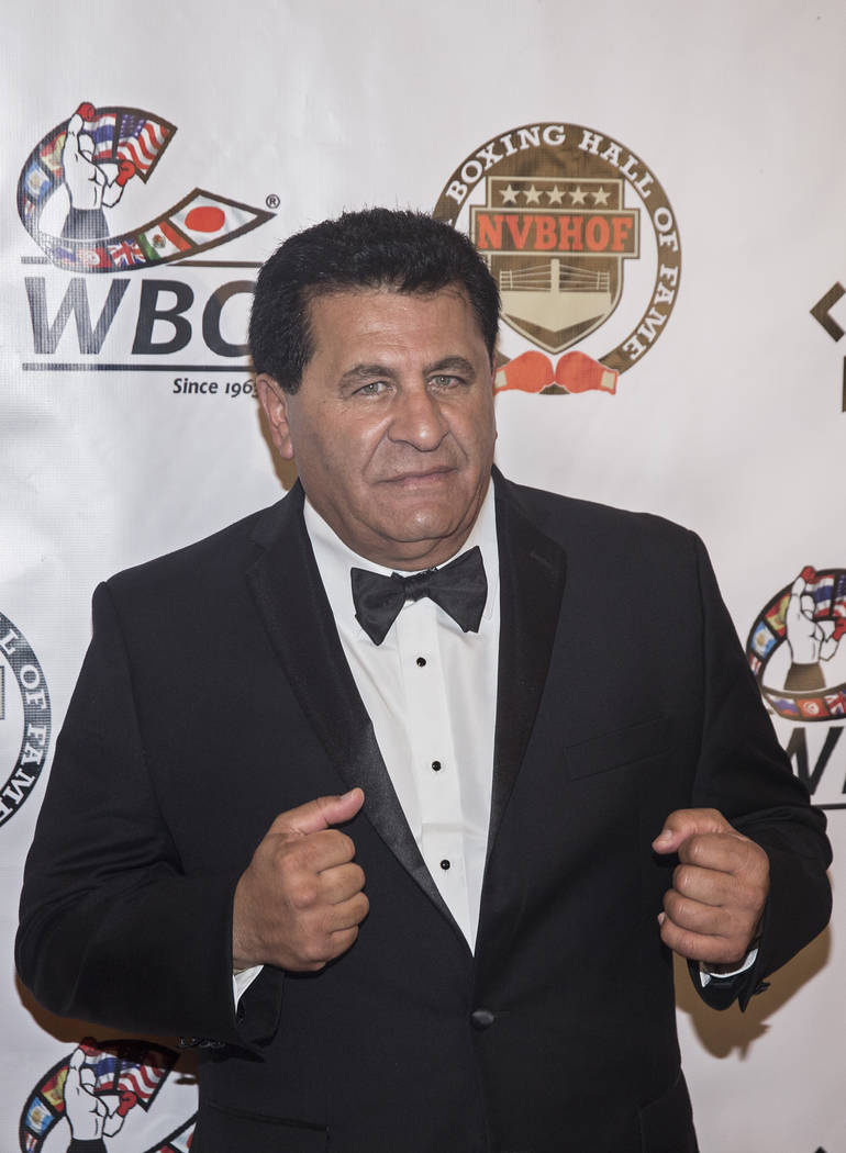 Former boxer Fouad Zeton takes photos on the red carpet before the start of the Nevada Boxing Hall of Fame gala on Saturday, Aug. 18, 2018, at Caesars Palace, in Las Vegas. Benjamin Hager Las Vega ...