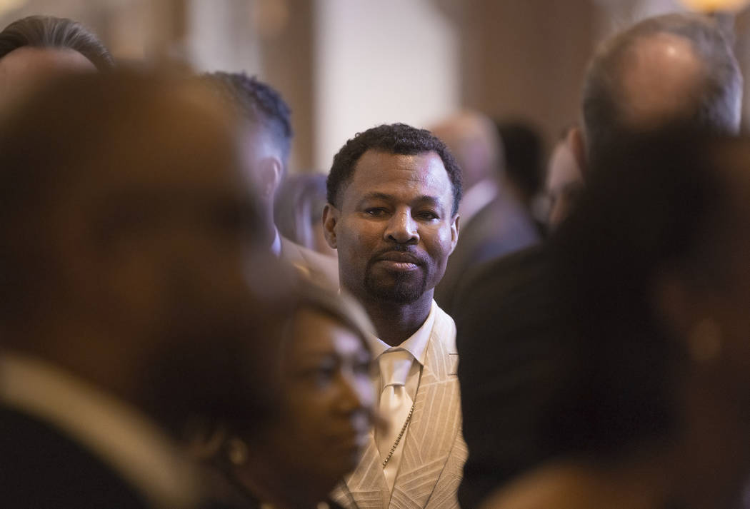 Shane Mosley, a former three-division boxing world champion, socializes with guests on the red carpet before the start of the Nevada Boxing Hall of Fame gala on Saturday, Aug. 18, 2018, at Caesars ...