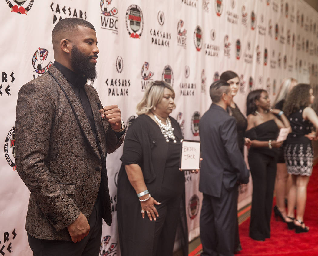 Swedish boxer Badou Jack, left, poses for photos on the red carpet before the start of the Nevada Boxing Hall of Fame gala on Saturday, Aug. 18, 2018, at Caesars Palace, in Las Vegas. Benjamin Hag ...