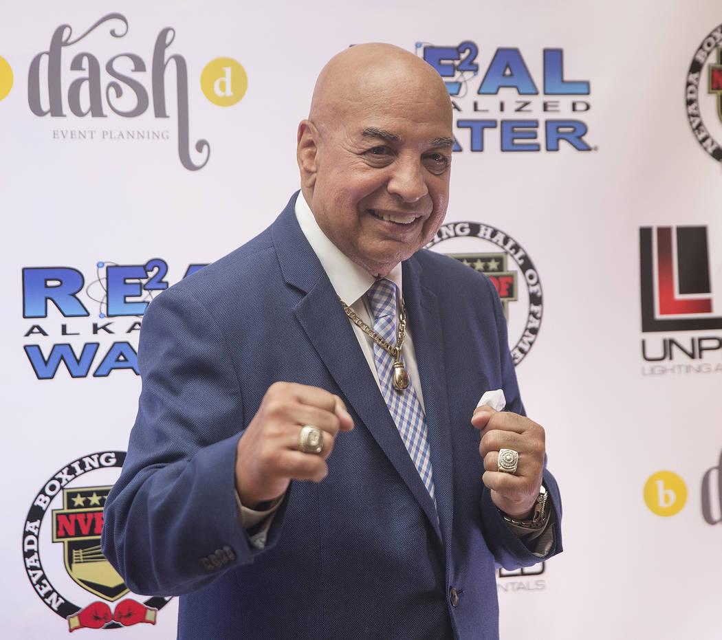 Boxing referee/commentator Joe Cortez takes photos on the red carpet before the start of the Nevada Boxing Hall of Fame gala on Saturday, Aug. 18, 2018, at Caesars Palace, in Las Vegas. Benjamin H ...