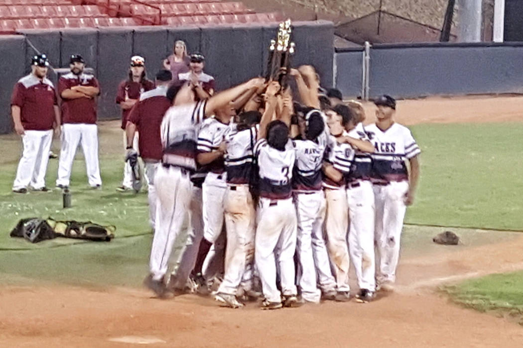 Desert Oasis Aces players celebrate winning the American Legion state championship. (Special to the Las Vegas Review-Journal)