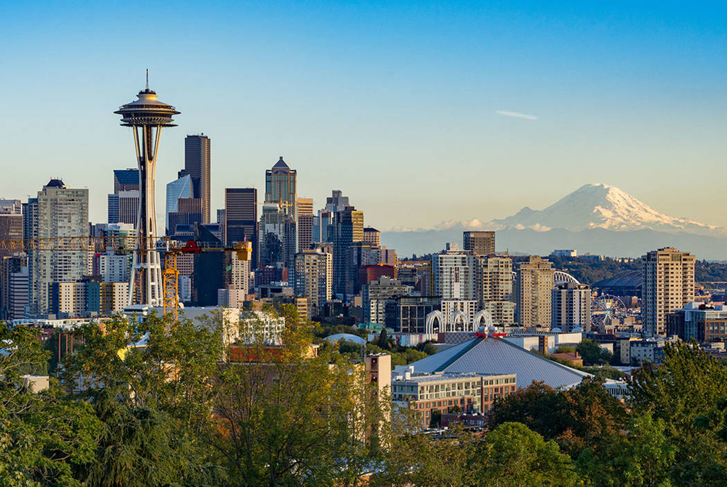 Seattle, Washington, with Mt. Rainier in the background (Thinkstock)