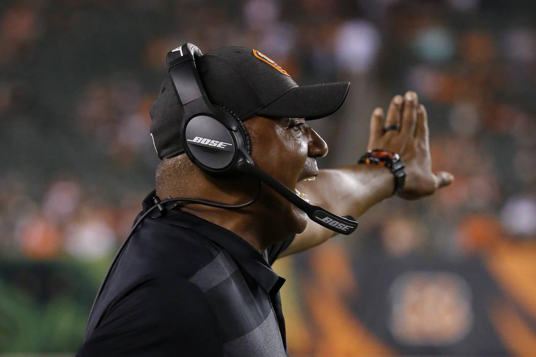 Cincinnati Bengals coach Marvin Lewis gestures during the second half of the team's NFL preseason football game against the Chicago Bears, Thursday, Aug. 9, 2018, in Cincinnati. (AP Photo/Frank Vi ...