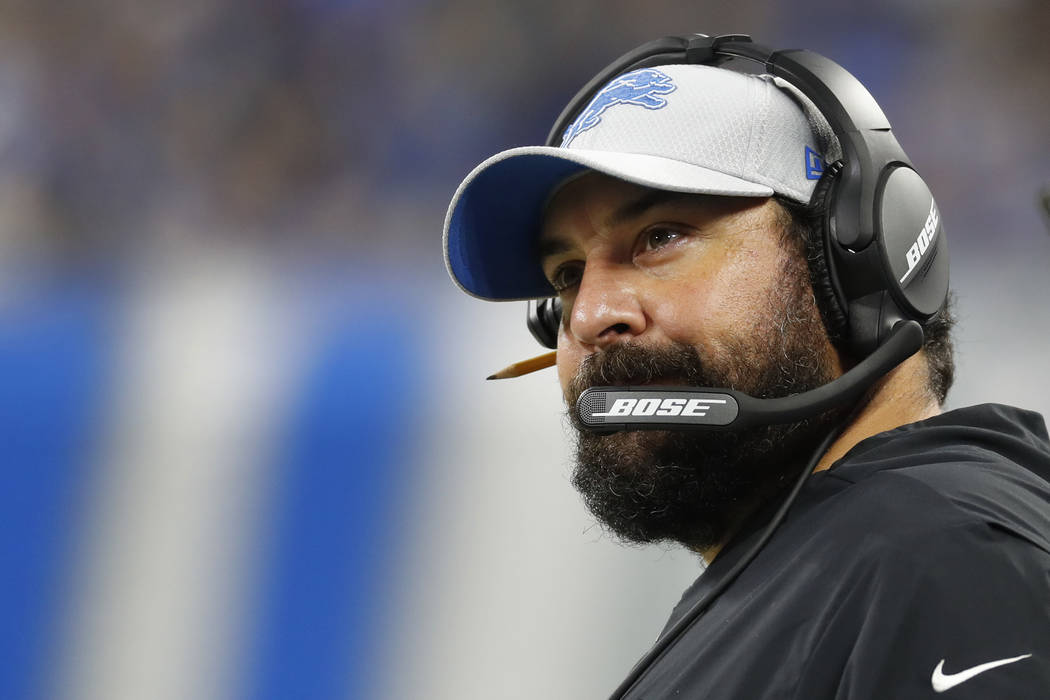 Detroit Lions head coach Matt Patricia watches during the second half of a preseason NFL football game against the New York Giants, Friday, Aug. 17, 2018, in Detroit. (AP Photo/Paul Sancya)