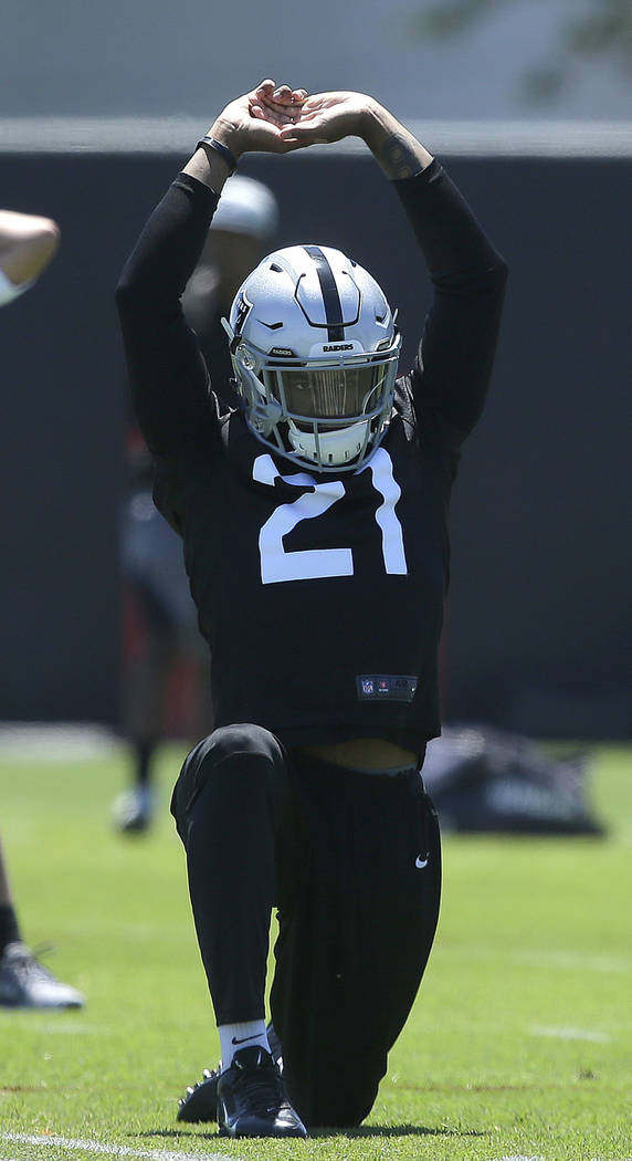 Oakland Raiders cornerback Gareon Conley stretches during practice at the NFL football team's mini-camp Tuesday, June 12, 2018, in Alameda, Calif. (AP Photo/Rich Pedroncelli)