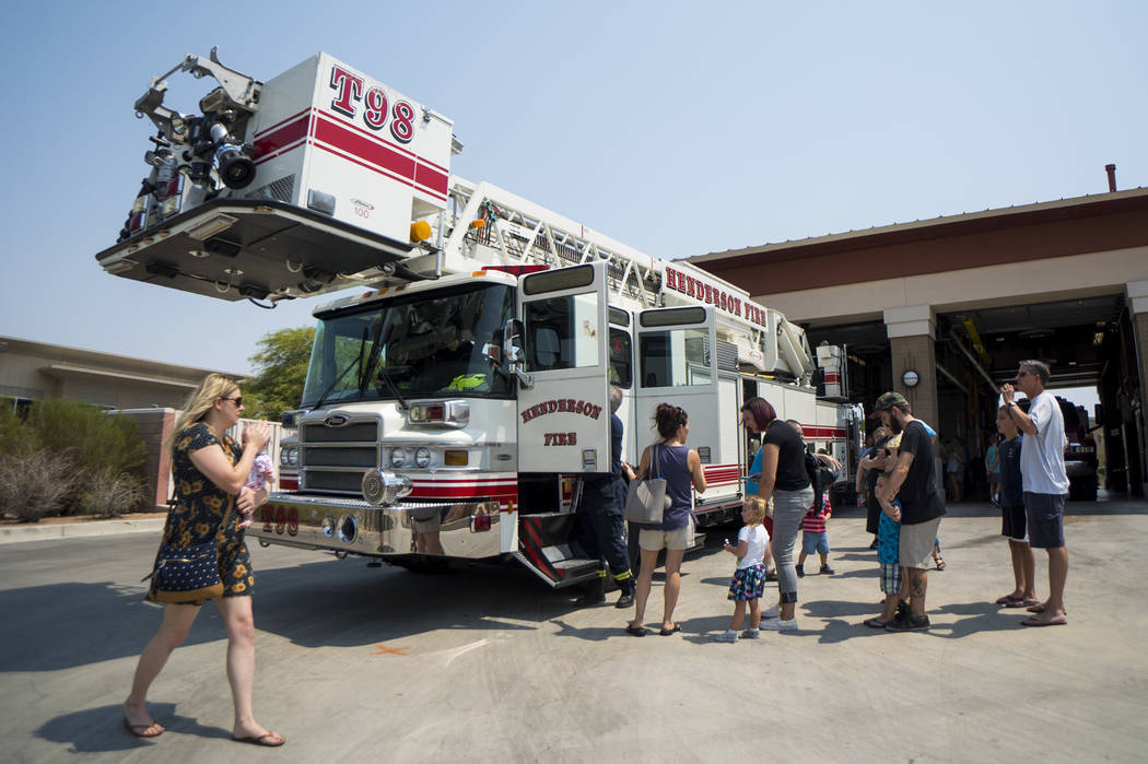 Henderson residents visit Fire Station 92 in Henderson, Saturday, Aug. 11, 2018. City of Henderson Fire Department holds an open house at a different fire station in Henderson every month to educa ...