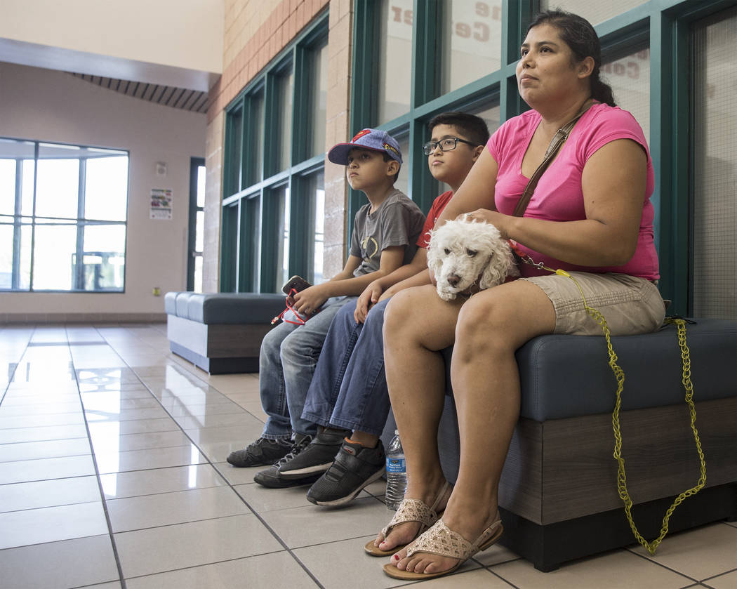 Claudia Aldana, right, sons Abner, 10, and Xair, 8, and dog Buckles keep cool at the Pearson Community Center on Sunday, Aug., 12, 2018, in Las Vegas. The center is one of a group of locations thr ...