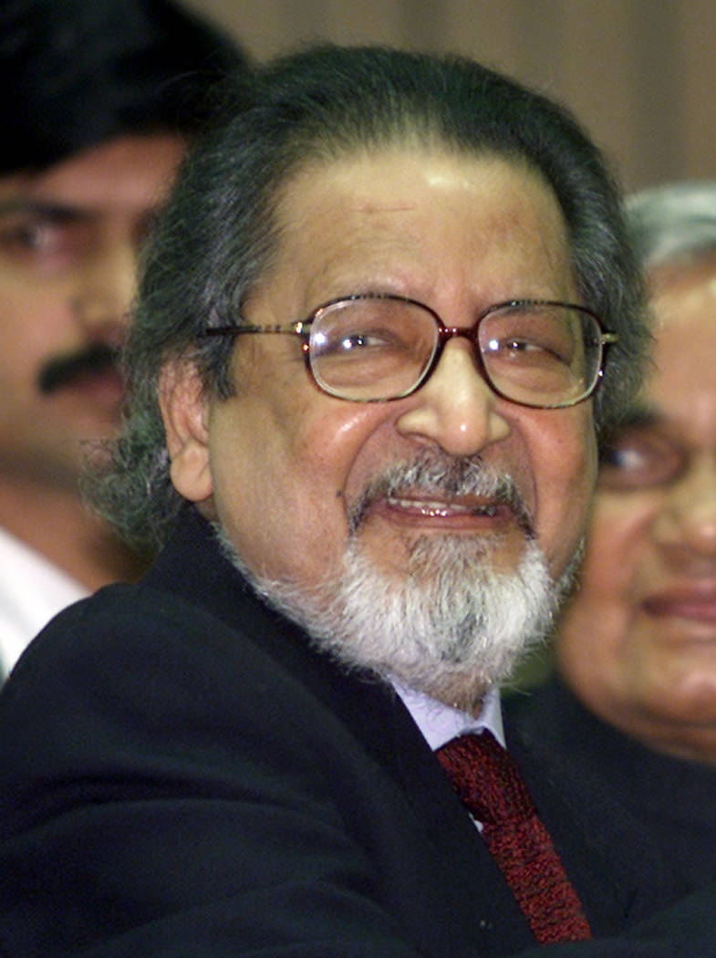 Nobel laureate V.S. Naipaul attends an International Festival of Indian Literature in New Delhi, India on Feb. 18, 2002. (AP Photo/John McConnico, File)