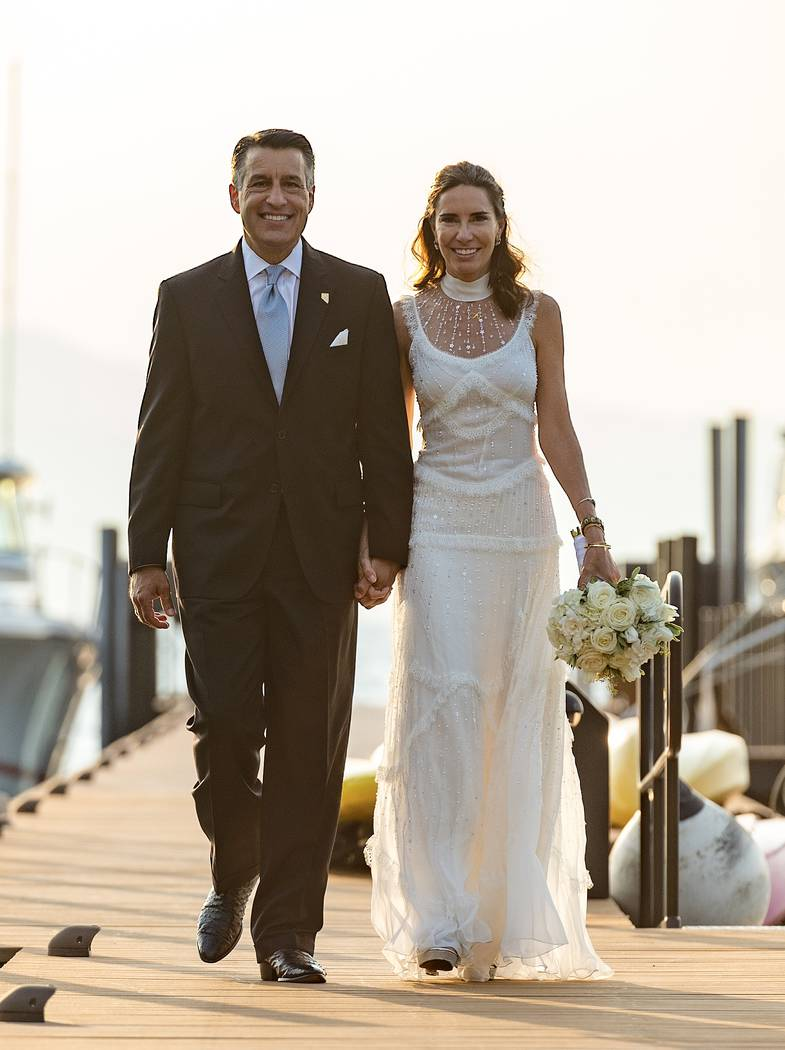 Nevada Gov. Brian Sandoval and Lauralyn McCarthy were married on Saturday, Aug. 11, 2018, at Lake Tahoe. (Governor's Office)