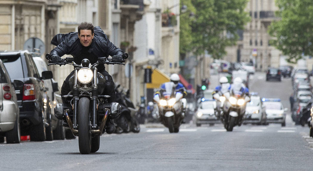 """Tom Cruise in a scene from """"Mission: Impossible - Fallout."""" After two weeks at no. 1, """"Mission: Impossible _ Fallout"""" slid to second place in its third weekend with $20 million. The Paramount ..."""