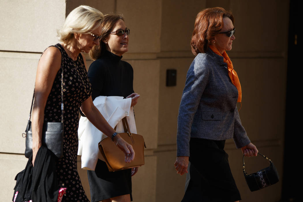 Kathleen Manafort, right, wife of former Trump campaign chairman Paul Manafort, arrives at the Albert V. Bryan United States Courthouse for her husbands trial, Friday, Aug. 10, 2018, in Alexandria ...