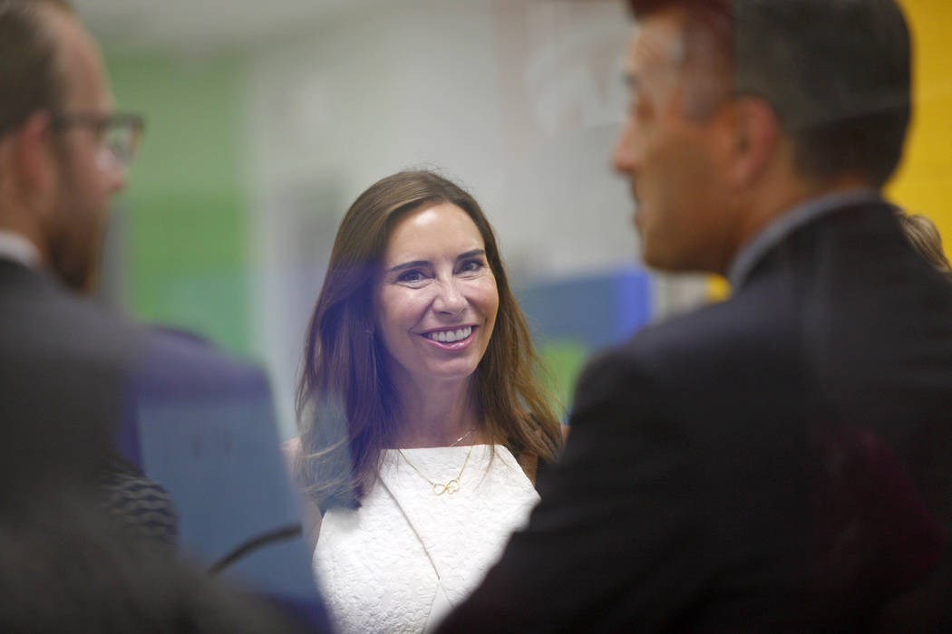 Las Vegas gaming executive Lauralyn McCarthy, who married Gov. Brian Sandoval over the weekend, at an event where Tesla and education leaders revealed new opportunities for robotics for education ...