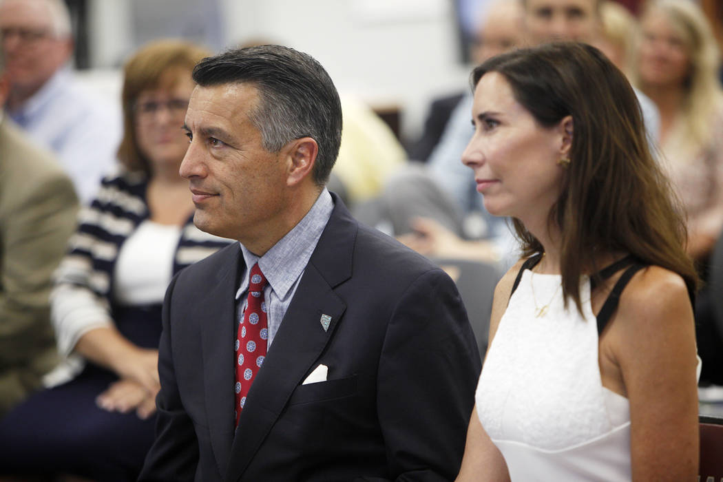 Newlyweds Gov. Brian Sandoval and Las Vegas gaming executive Lauralyn McCarthy, at an event where Tesla and education leaders revealed new opportunities for robotics for education throughout the s ...
