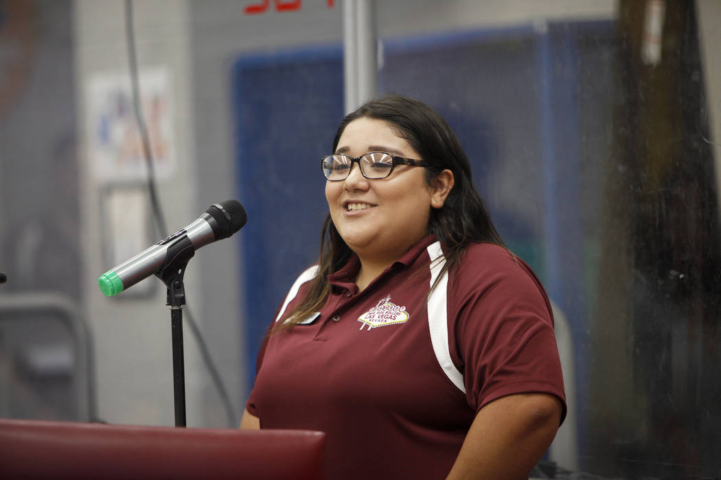 Melanie Sanchez speaks at an event where Tesla and education leaders revealed new opportunities for robotics for education throughout the state at Cimarron-Memorial High School in Las Vegas, Monda ...