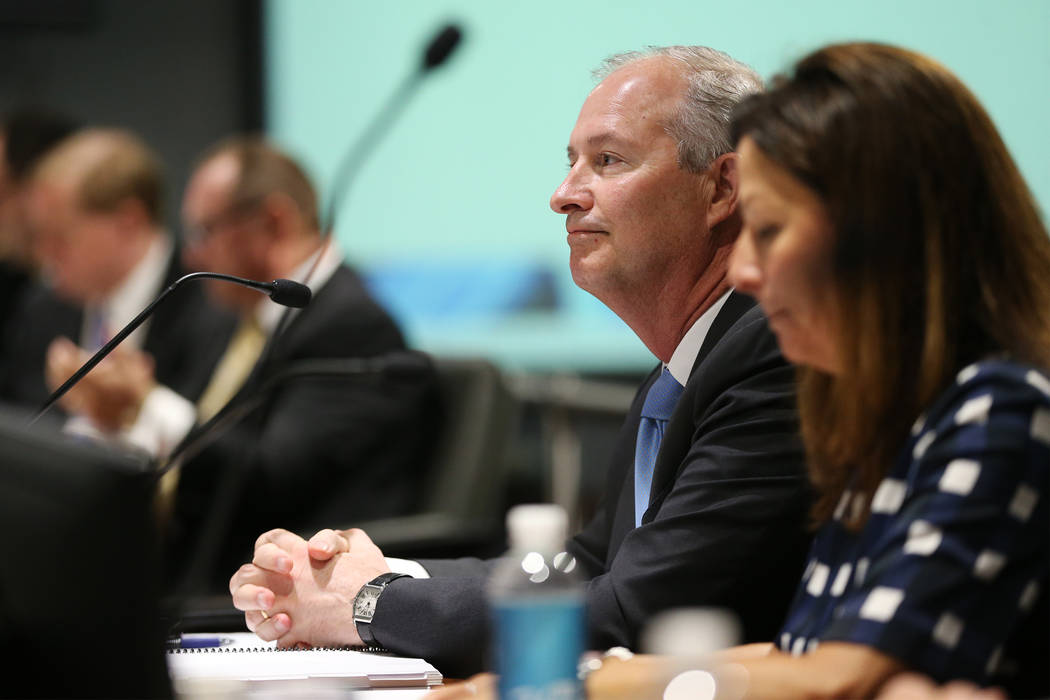 Steve Hill, who was named the new CEO of the Las Vegas Convention and Visitors Authority, replacing retiring Rossi Ralenkotter, during a LVCVA board meeting at the Las Vegas Convention Center in L ...