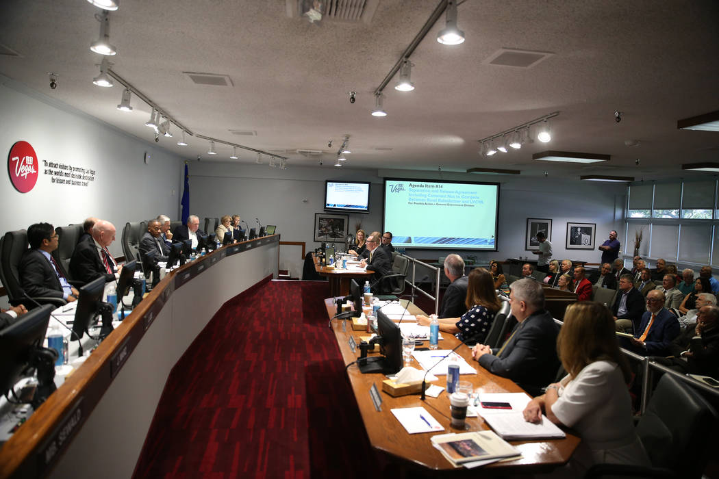 A Las Vegas Convention and Visitor Authority board meeting at the Las Vegas Convention Center in Las Vegas, Tuesday, Aug. 14, 2018. Erik Verduzco Las Vegas Review-Journal @Erik_Verduzco