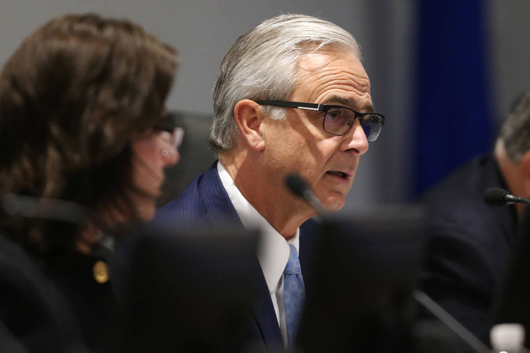 Las Vegas Convention and Visitors Authority Board Vice Chairman and President of Mandalay Bay Chuck Bowling, center, speaks during a board meeting at the Las Vegas Convention Center in Las Vegas, ...