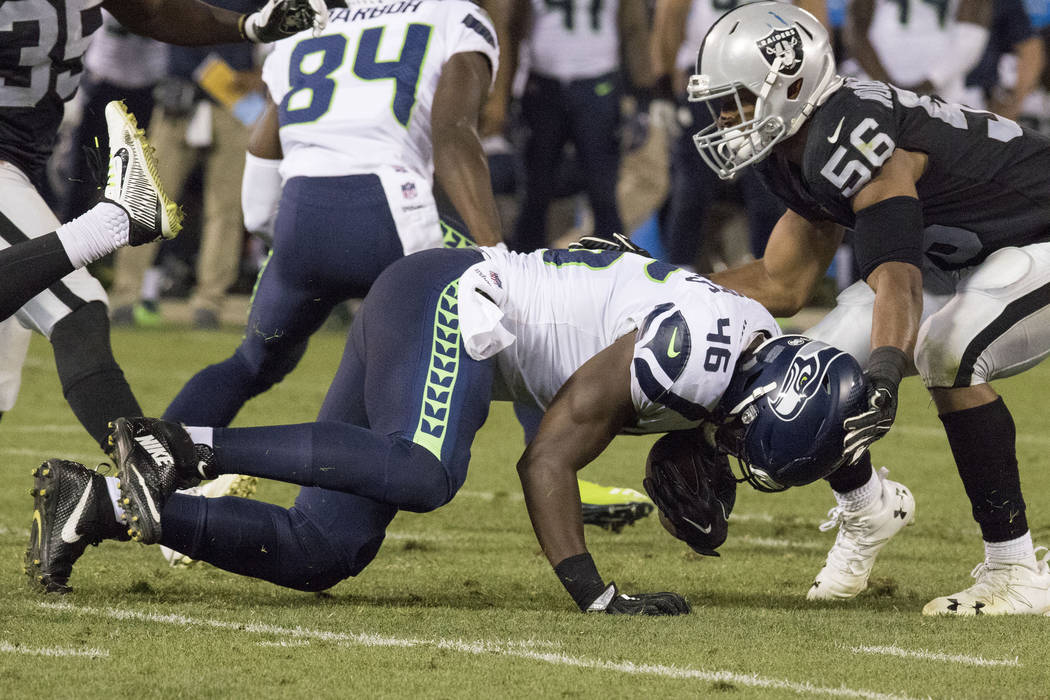 Seattle Seahawks linebacker Rodney Butler (46) catches a pass in the first half of their preseason game against the Oakland Raiders in Oakland, Calif., Thursday, Aug. 31, 2017. Heidi Fang Las Vega ...