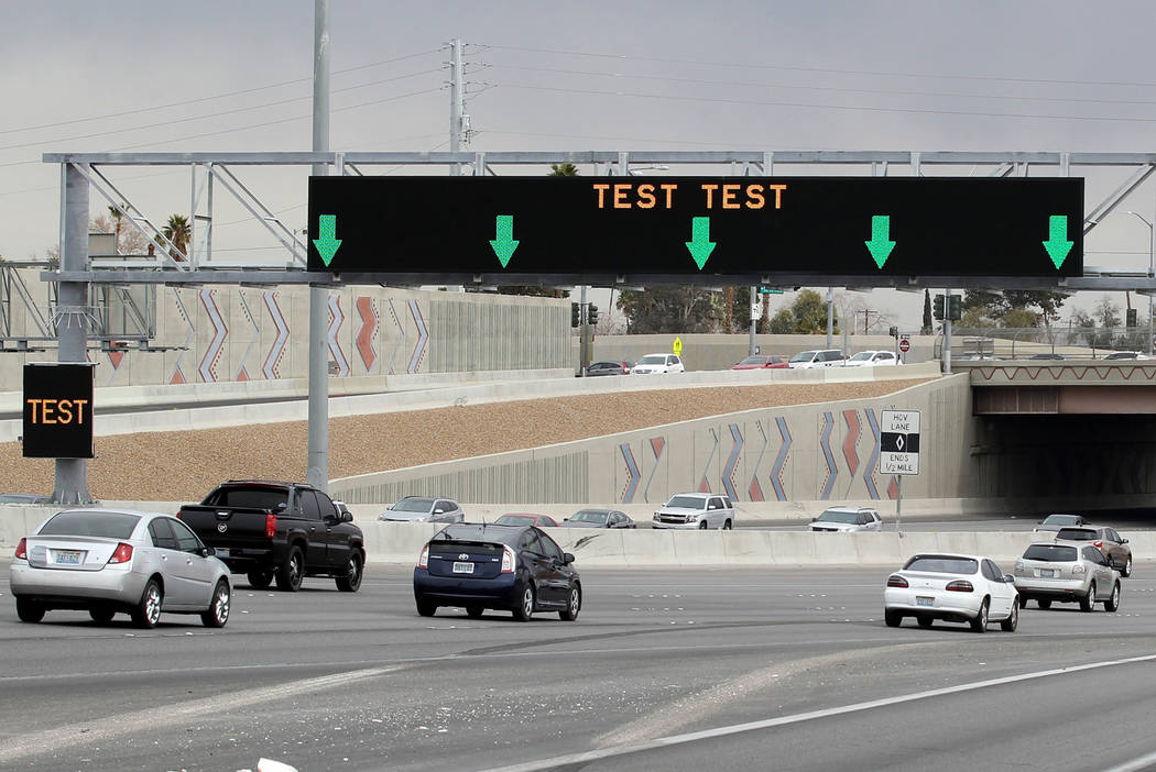 An example of Nevada Department of Transportation's new Active Traffic Management sign. By the end of 2019, 42 of these new Active Traffic Management signs will deliver real-time information with ...