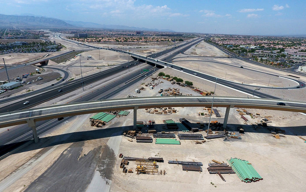 An aerial view of the Bruce Woodbury Beltway East transition overpass to U.S. Highway 95 South as seen on Monday, Aug. 13, 2018. Michael Quine Las Vegas Review-Journal @Vegas88s