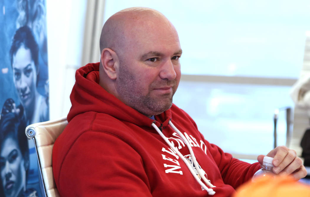 UFC president Dana White listens to reporters questions at a media day at the UFC headquarters in Las Vegas, Tuesday, Nov. 28, 2017. Heidi Fang Las Vegas Review-Journal @HeidiFang