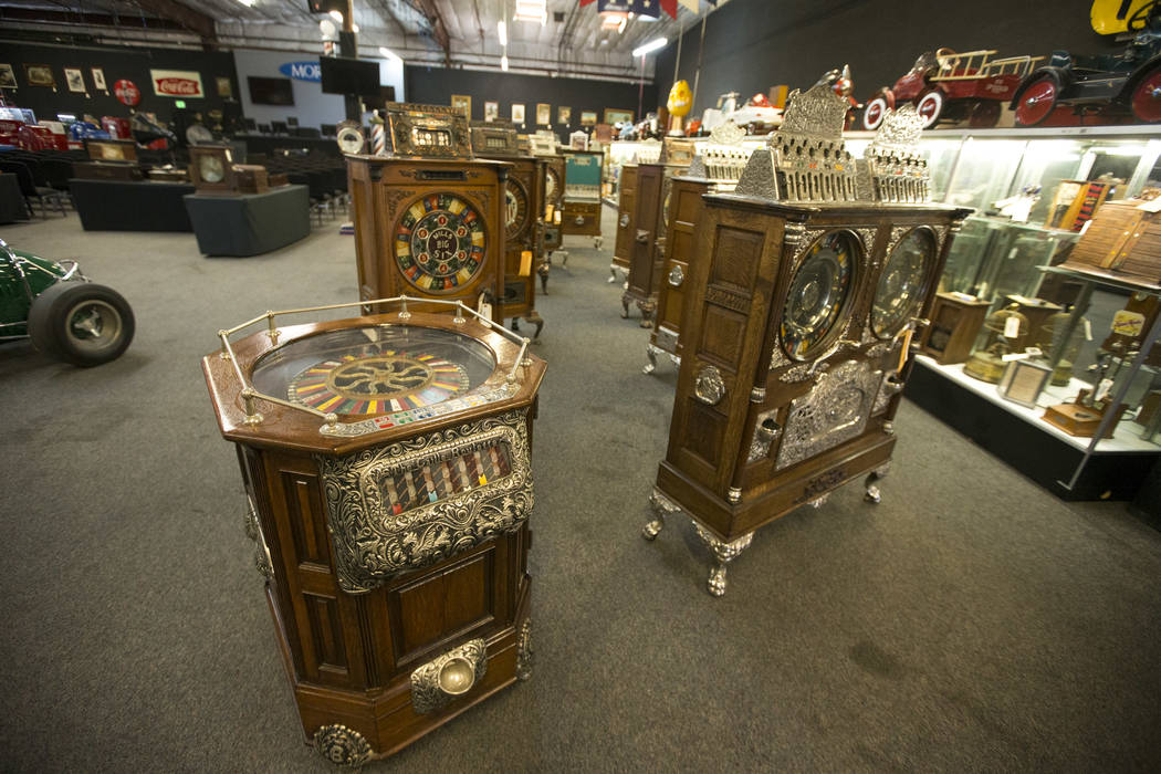 Vintage slot machines on display at the Morphy Auctions warehouse located at 4520 Arville Street in Las Vegas on Thursday, Aug. 16, 2018. Richard Brian Las Vegas Review-Journal @vegasphotograph