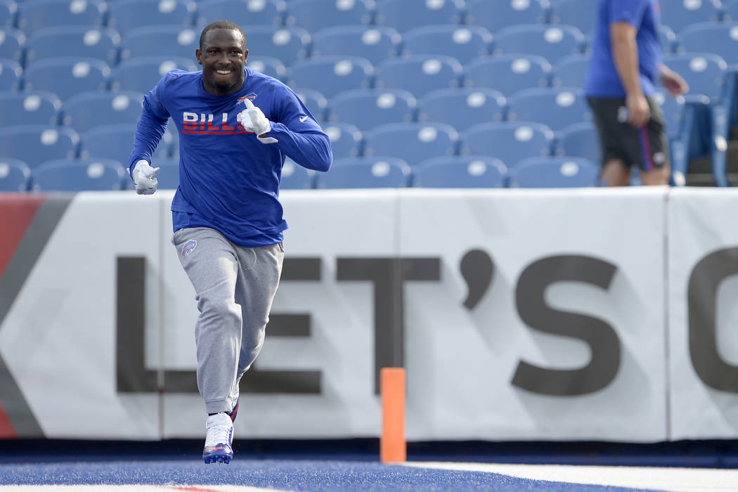 Buffalo Bills running back LeSean McCoy works out prior to an NFL football game against the Carolina Panthers, Thursday, Aug. 9, 2018, in Orchard Park, N.Y. (AP Photo/Adrian Kraus)