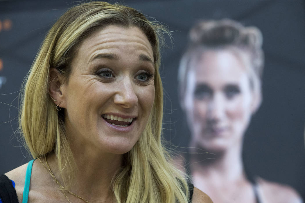 In this March 22, 2016, file photo, Kerri Walsh Jennings speaks to reporters during a news conference sponsored by KT Tape in New York. (AP Photo/Mary Altaffer, File)