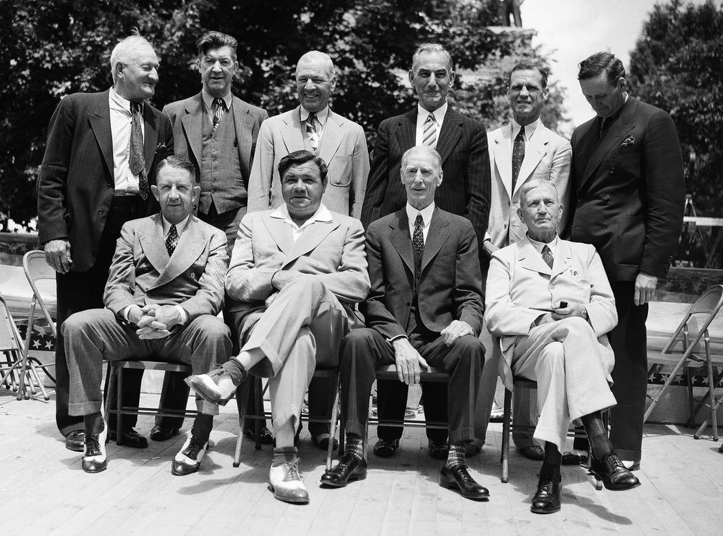 In this June 12, 1939 file photo, these baseball stars were pictured as they attended the dedication and their induction into the Baseball Hall of Fame in Cooperstown, N.Y. Front row; Eddie Collin ...