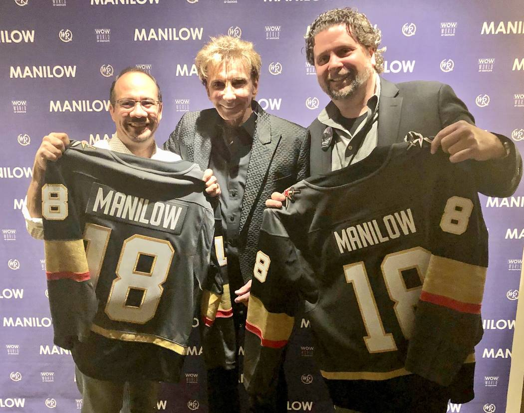 Jay Kornegay, Barry Manilow and Geno Iafrate show off new Golden Knights jerseys at International Theater at Westgate Las Vegas on Thursday, May 24, 2018. (John Katsilometes/Las Vegas Review-Journal)