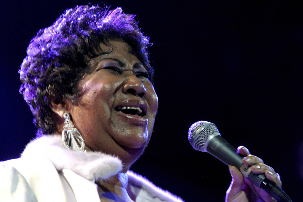 FILE - In this Nov. 21, 2008 file photo, Aretha Franklin performs at the House of Blues in Los Angeles. Franklin died Thursday, Aug. 16, 2018 at her home in Detroit. She was 76. (AP Photo/Shea ...