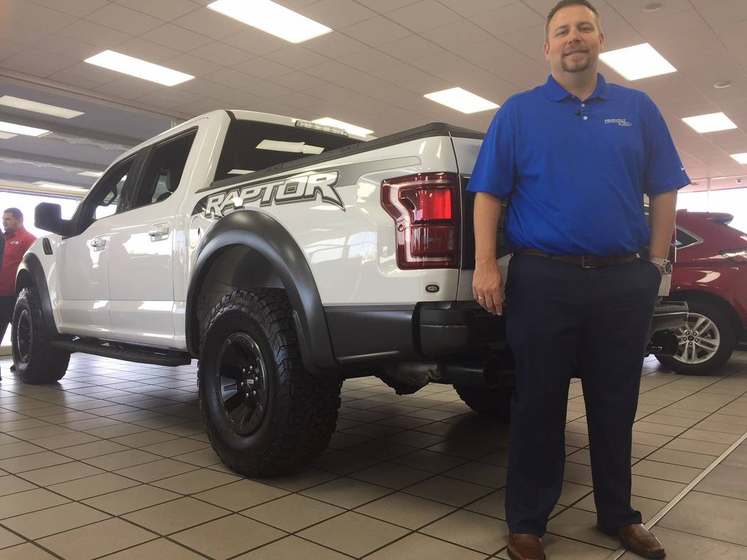 New Friendly Ford General Manager Bill Bosnos is seen with a 2018 Ford Raptor at the dealership located at 660 N. Decatur Blvd. (Friendly Ford)