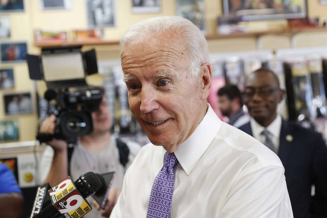Former Vice President Joe Biden speaks to the media during a campaign stop with Democratic gubernatorial candidate Richard Cordray, Friday, June 29, 2018, in Cincinnati. Biden has endorsed Democra ...