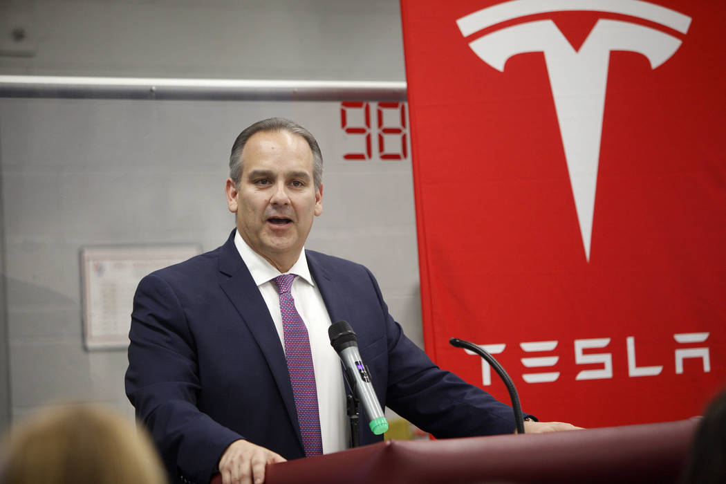 Clark County School District Superintendent Jesus Jara speaks at an event where Tesla and education leaders revealed new opportunities for robotics for education throughout the state at Cimarron-M ...