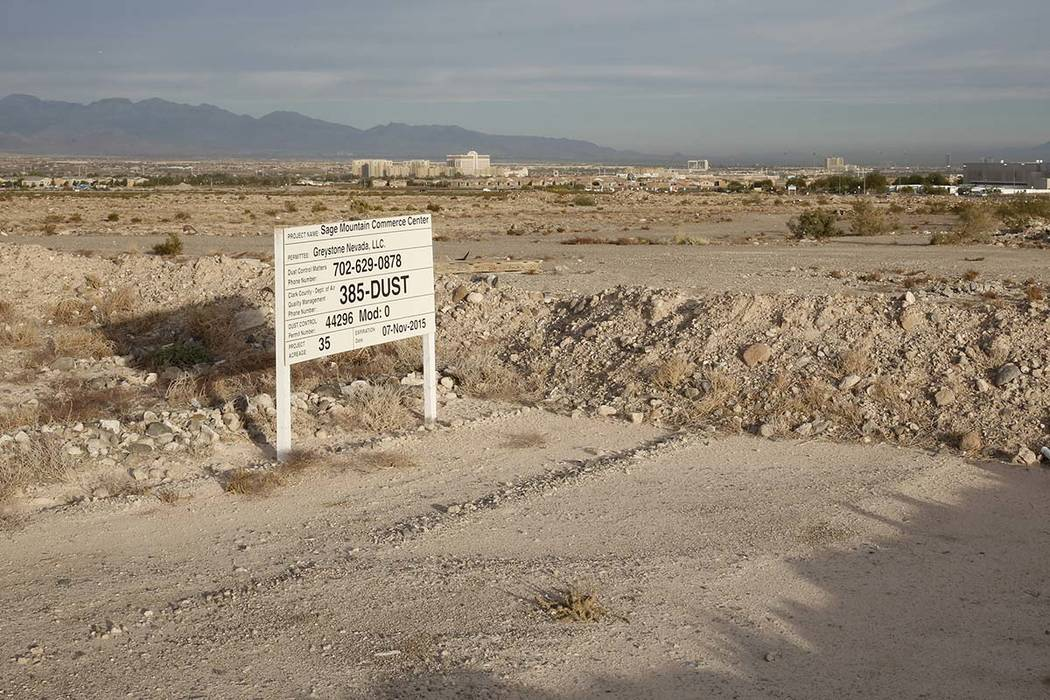 A 55-acre lot photographed on Wednesday, Nov. 15, 2017, in Henderson. The Raiders are set to build their new practice facility next to the Henderson Executive Airport. Bizuayehu Tesfaye Las Vegas ...