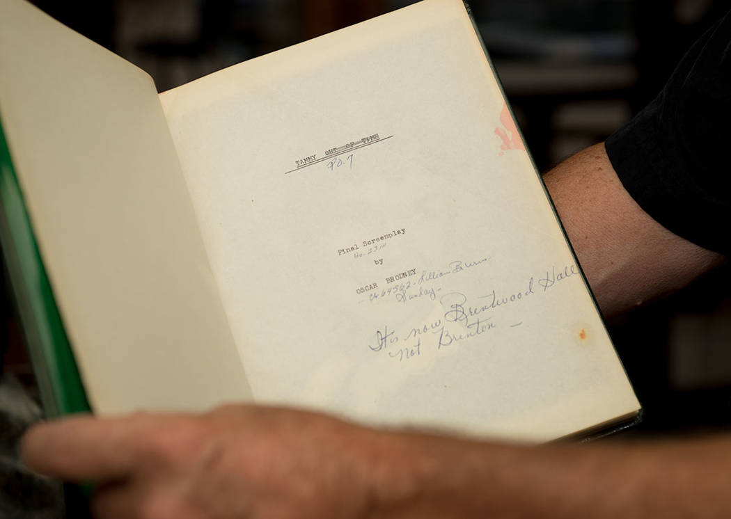 """Todd Fisher holds a bound screenplay script of """"Tammy,"""" which has handwritten changes. (Tonya Harvey Real Estate Millions)"""