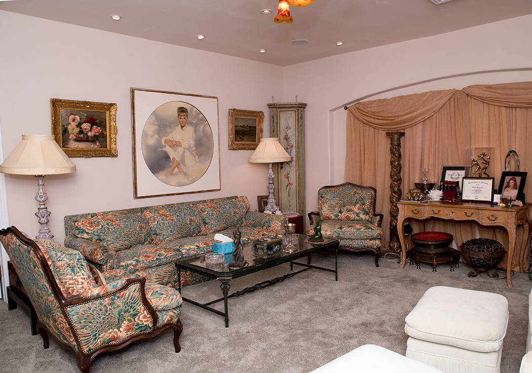 This was Debbie Reynold's living room in her son's southwest Las Vegas home. (Tonya Harvey Real Estate Millions)