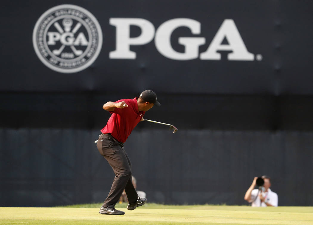 Tiger Woods celebrates his birdie putt on the 18th green during the final round of the PGA Championship golf tournament at Bellerive Country Club, Sunday, Aug. 12, 2018, in St. Louis. (AP Photo/Je ...