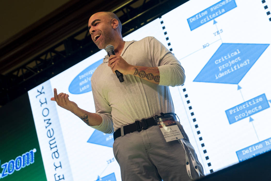 Ari Beau Smith, CSO and co-founder of MEScience AI Limited, talks about artificial intelligence at ChainXChange at Mandalay Bay Convention Center in Las Vegas, Tuesday, Aug. 14, 2018. ChainXChange ...