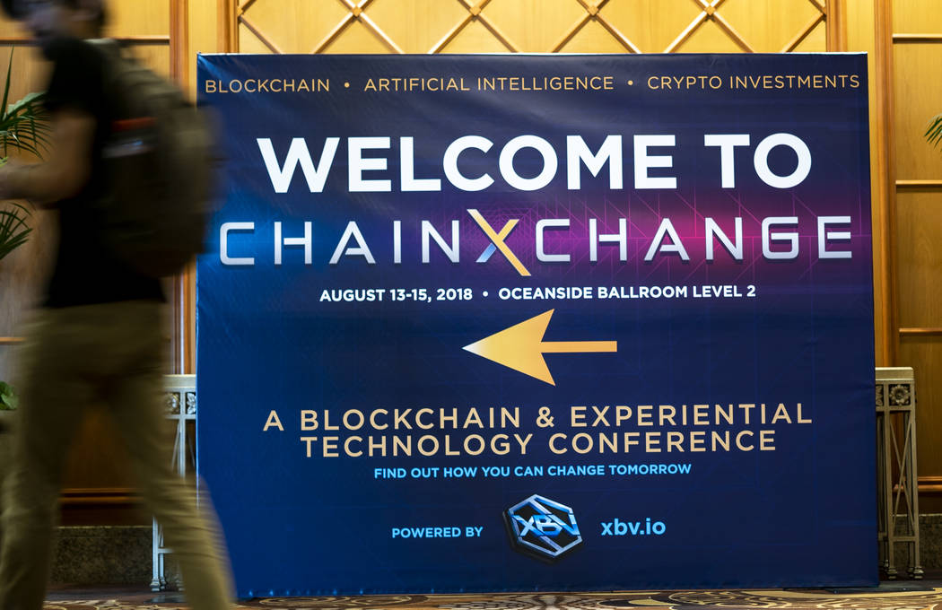 A ChainXChange sign photographed outside of the conference room at ChainXChange at Mandalay Bay Convention Center in Las Vegas, Tuesday, Aug. 14, 2018. ChainXChange is a blockchain and AI technolo ...