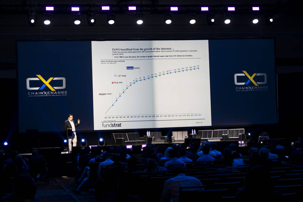 Tom Lee, Co-founder of Fundstrat, talks about the digital economy at ChainXChange at Mandalay Bay Convention Center in Las Vegas, Tuesday, Aug. 14, 2018. ChainXChange is a blockchain and AI techno ...