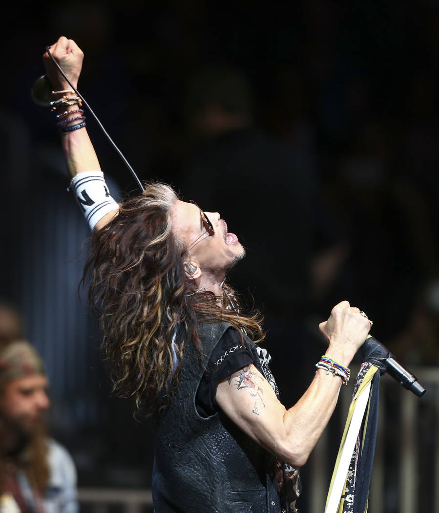 Steven Tyler of Aerosmith performs at the start of the fourth day of the Professional Bull Riders World Finals at the T-Mobile Arena in Las Vegas on Saturday, Nov. 5, 2016. The band announced Wedn ...