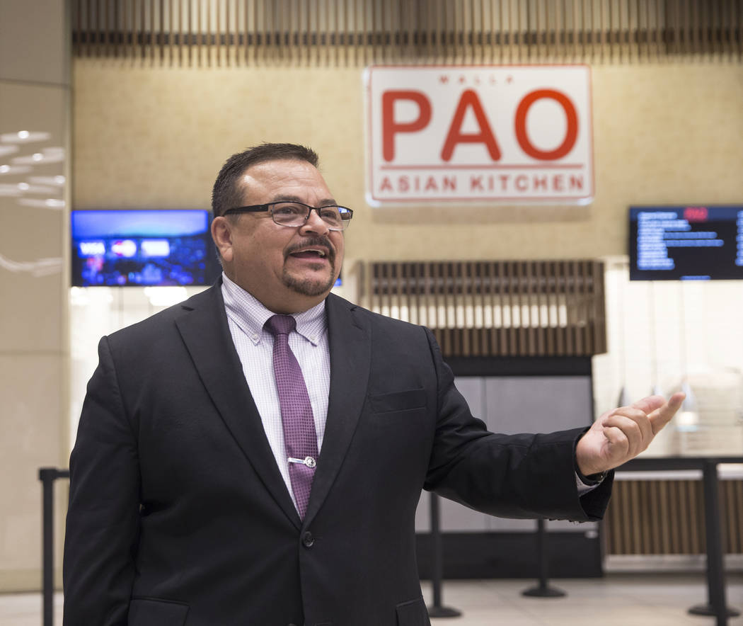 Centerplate general manager Paco Gomez discusses updates to Aces restaurant on Thursday, Aug., 9, 2018, at the Las Vegas Convention Center, in Las Vegas. Benjamin Hager Las Vegas Review-Journal @b ...