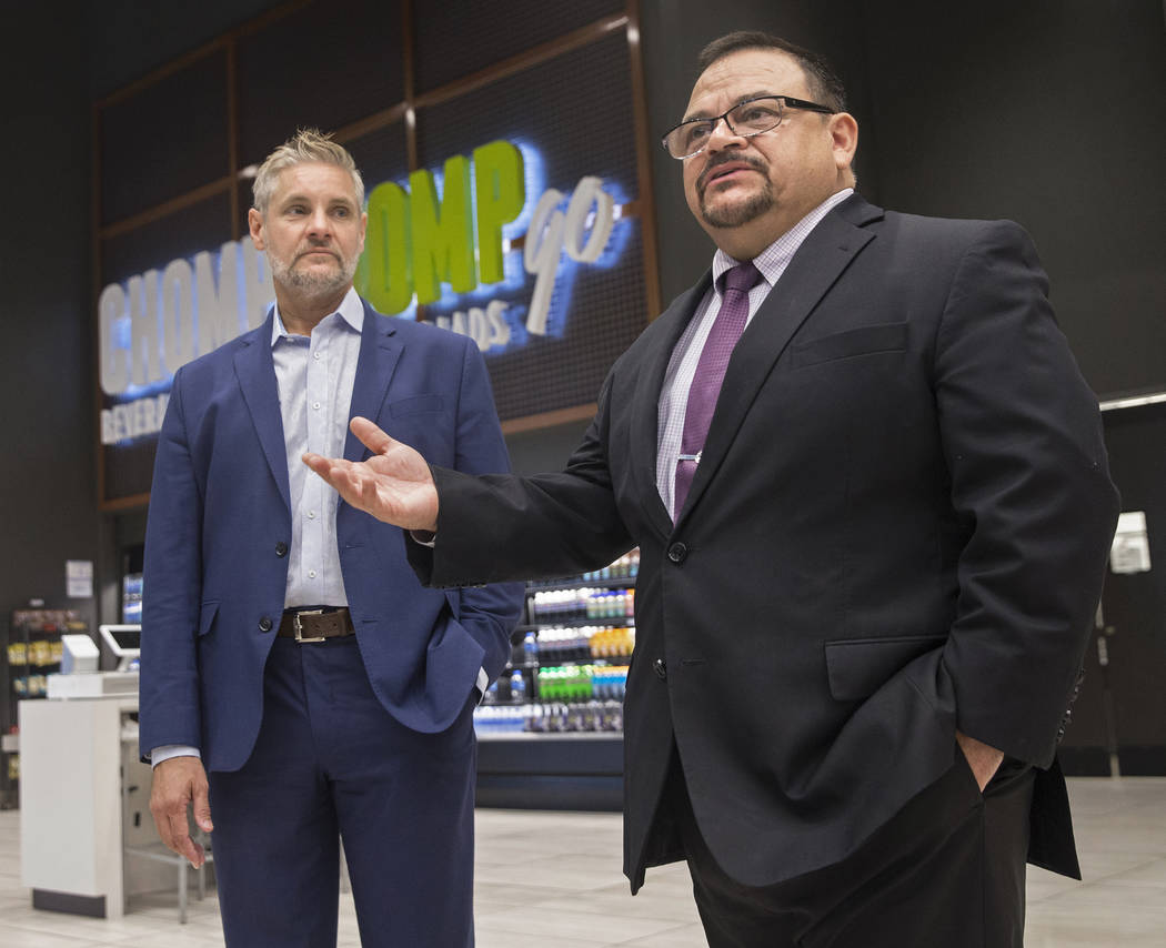 Centerplate general manager Paco Gomez, right, and vice president Richard Ginzel discuss updates to Aces restaurant on Thursday, Aug., 9, 2018, at the Las Vegas Convention Center, in Las Vegas. Be ...