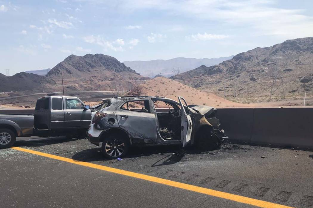 The Nevada Highway Patrol says two people were killed in a two-vehicle crash on the newly opened Interstate 11, close to the junction with U.S. Highway 93, near Boulder City, Tuesday, Aug. 14, 201 ...