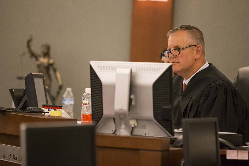Judge Jerry Wiese presides during a hearing at the Regional Justice Center in Las Vegas. (Richard Brian/Las Vegas Review-Journal) @vegasphotograph