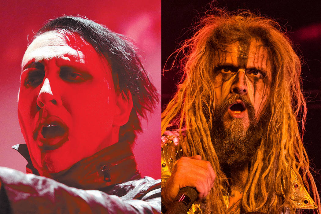 "Marilyn Manson with Rob Zombie join forces for the ""Twins of Evil"" tour. (Owen Sweeney/Invision/AP, File and Amy Harris/Invision/AP)"