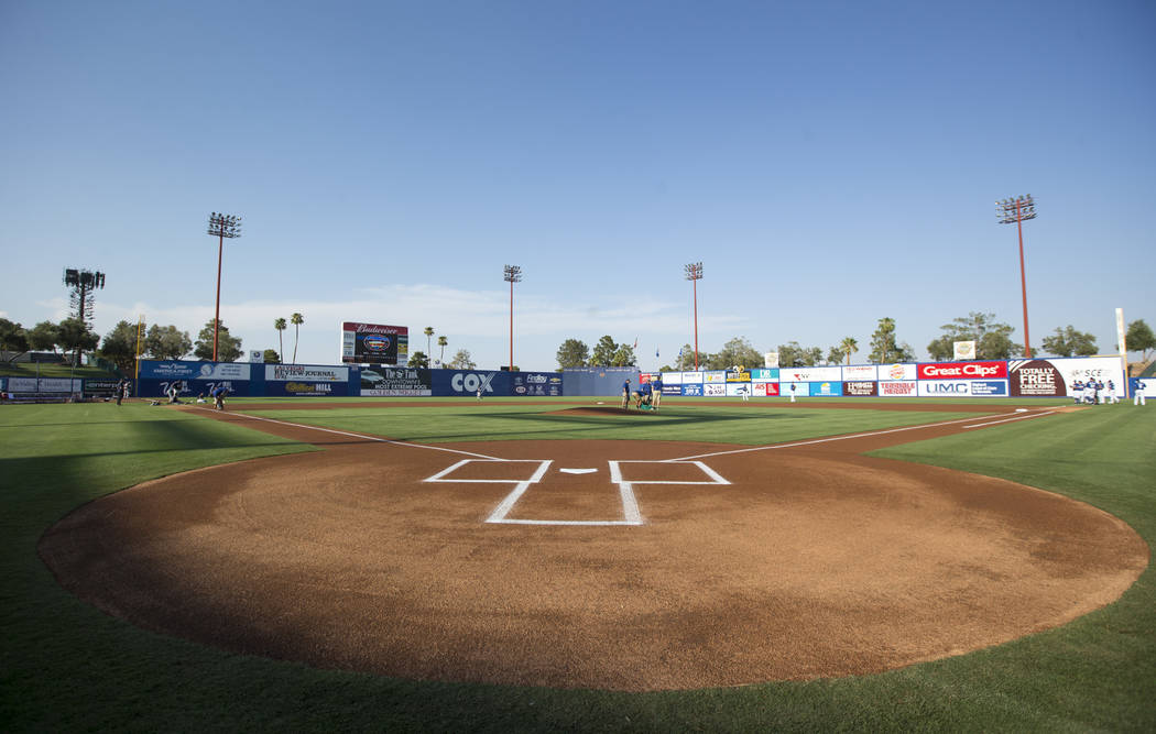 Collin Doebler and members of his crew prepare the infield before a Las Vegas 51s baseball game at Cashman Field in Las Vegas on Sunday, Aug. 12, 2018. Richard Brian Las Vegas Review-Journal @vega ...