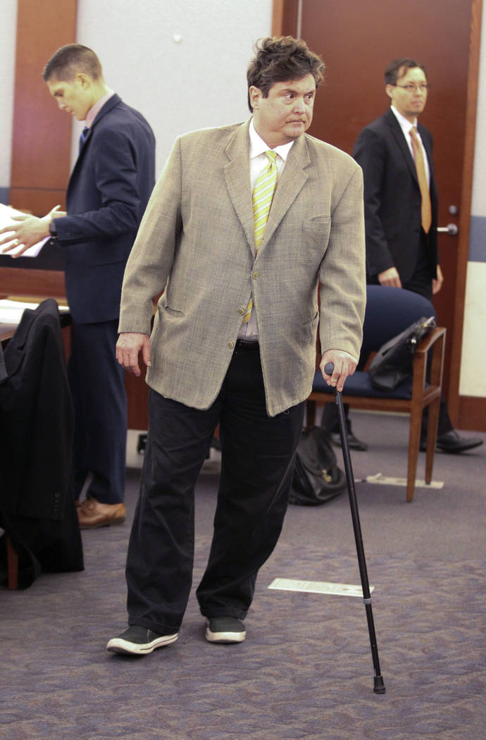 Mark Georgantas, who persuaded people to give him money for what prosecutors said was a casino scam, after he was granted a 30-day continuance at his sentencing at the Regional Justice Center in L ...